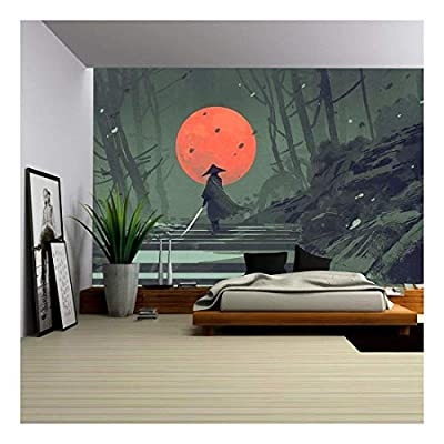 Original Creation, Beautiful Piece of Art, Illustration Samurai Standing on Stairway in Night Forest with The red Moon on Background Illustration Painting