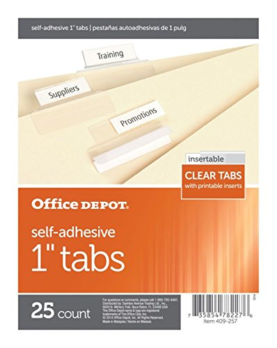 Office Depot Self-Adhesive Tabs With Printable Inserts, 2in, Clear, Pack Of 25, OD409293