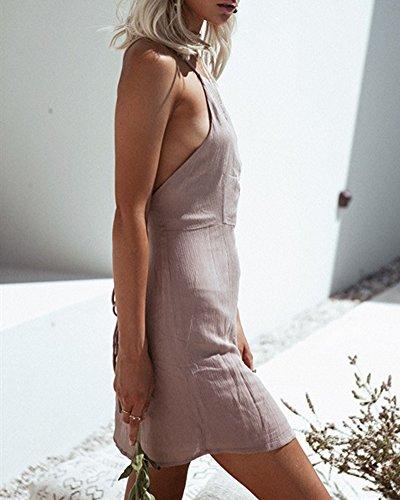 Vestito Maniche Senza Donne Spiaggia Bodycon Pink Partito Abito Schienale Da Sera Mini pqZnBwXxR