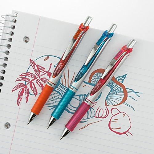 Pentel EnerGel RTX Retractable Liquid Gel Pen, Medium Line, Metal Tip, Assorted Ink, 8-Pack (BL77BP8M)