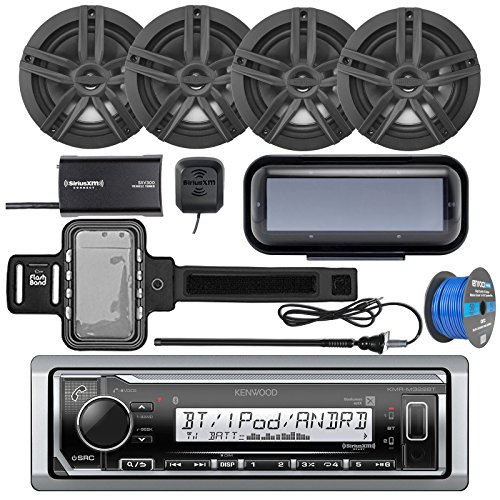 "Kenwood KMR-M322BT Marine Bluetooth Receiver, Radio Cover, 4x Enrock Marine 2-Way 6.5"" Speakers (Black), SiriusXM Tuner, Iphone Waterproof Arm Band, Marine Radio Antenna - Black, Tinned Speaker Wire"