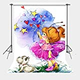 FUERMOR 5x7ft Cartoon Painting Little Girl and Puppy Photography Backdrop Props Photo Background N397