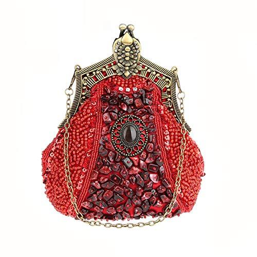Fiesta Crossbody Red Moldeado Mano De Bolso Vestido Exquisito La Mujer A Vintage Embrague Del Cartera Señora Hecho Banquete TBxFIqAZn