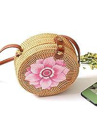 Round Rattan Bag,FOONEE Handwoven Women Straw Shoulder Bag |Women Straw Summer Beach Bag,Straw Bags for Women Crossbody with Shoulder Leather Strap,Women's Handmade Bamboo Handbag