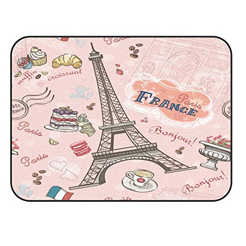 Arts Language Area Rugs for Kids Bedroom Livingroom France Eiffel Tower and Cake Children Play Nursery Floor Carpet Non-Slip Mat Office Kitchen Runner Rugs 60x82in -