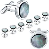 HAWSON Mens Cufflinks and Studs Set for Tuxedo Shirt Mother of Pearl Tuxedo Studs for Mens with a Gift Box