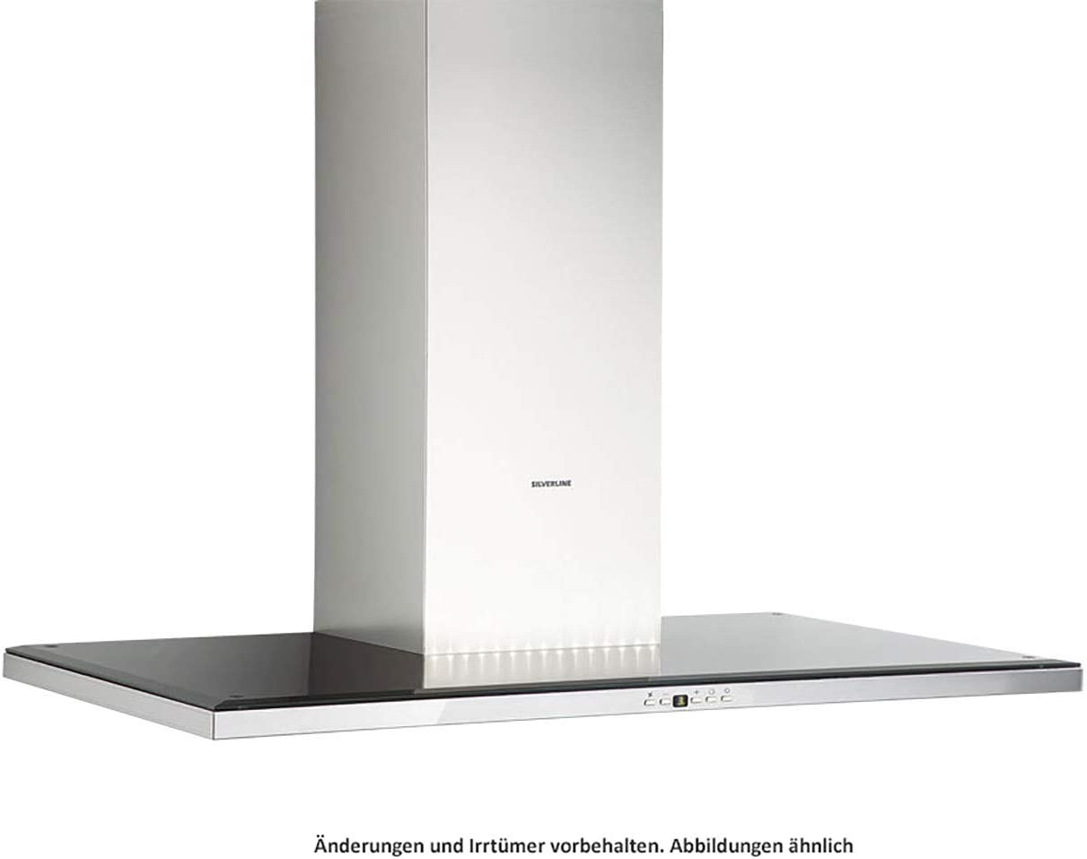 SILVERLINE Slim Deluxe SLW 910 S - Cubierta de pared (acero inoxidable, cristal negro, 90 cm): Amazon.es: Grandes electrodomésticos