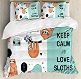 Ambesonne Animal Decor Duvet Cover Set, Lazy Sleepy Bear Tribe of Australian Sloths with 'Keep Calm' Quote Cartoon, 3 Piece Bedding Set with Pillow Shams, Queen/Full, Multicolor