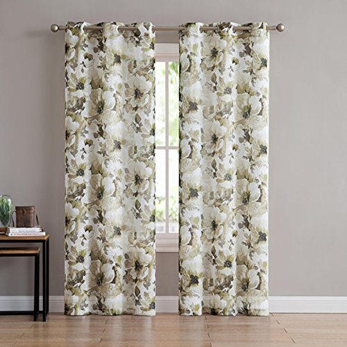 Jenny 2-Pack Floral Watercolor Printed Sheer Grommet Panels, Contemporary Design Perfect For Home And Office Decor, Blends In Effortlessly, Provides Ample Privacy And Light, 76x84 Inches (Green)
