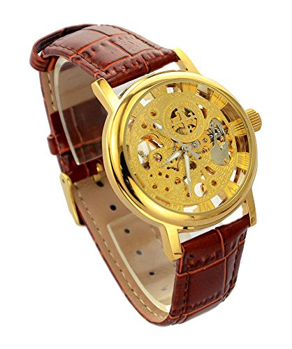 Ideashop Men's Retro Elegant Three Hands Roman Number Mechanical Watch Transparent Dial Skeleton Concise Leather...