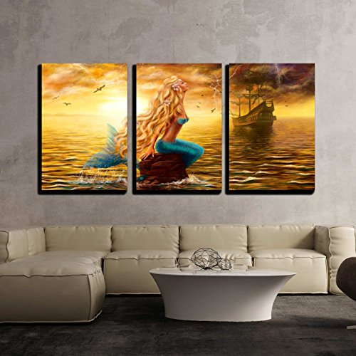 wall26 - 3 Piece Canvas Wall Art - Beautiful Princess Sea Mermaid with Ghost Ship at Sunset Background - Modern Home Decor Stretched and Framed Ready to Hang - 24