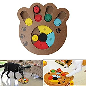 coldshine Dog Puzzle Toy Interactive Dog Toys Pet Dog Wooden Game IQ Training Toy Food Dispensing Puzzle Plate 20