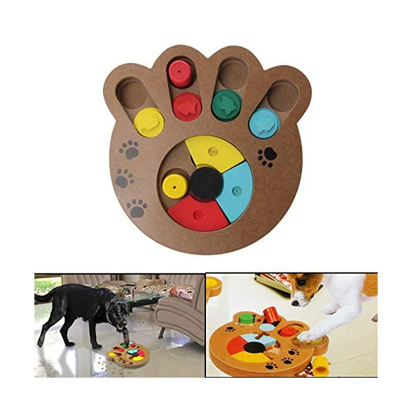 coldshine Dog Puzzle Toy Interactive Dog Toys Pet Dog Wooden Game IQ Training Toy Food Dispensing Puzzle Plate 1