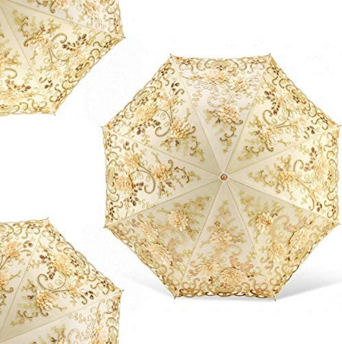 ManYHM Portable Folding Lace Flower Print Umbrella Women Rain Umbrella Folding UV Protection Umbrella Embroider Lace Flower Umbrellas Fashion Color : 001, Size : 3 Folding