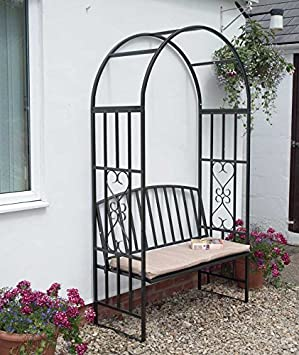 Garden Arch With Bench And Cushion Arbour Seat Metal Garden Furniture