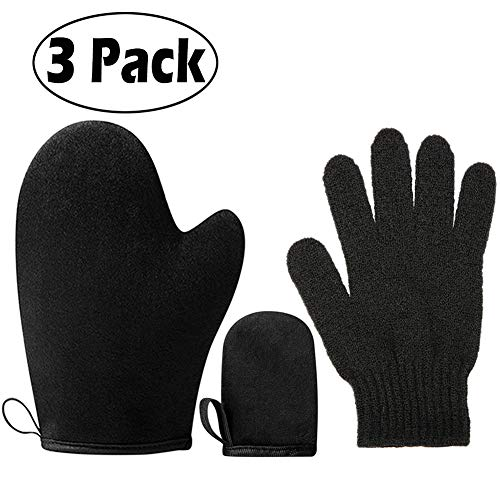 3 pack Self Tanning Mitt Applicator Kit - with Self Tan Mitt applicator, exfoliating gloves, mini Self Tanner Applicator Mitt Self Tanner Mitt,Tan Applicator Mitt, Sunless Tanning Mitt ()