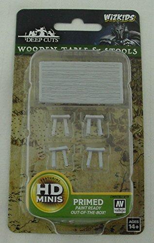 Wooden Table & Stools 5  Figure Pathfinder Battles Miniature