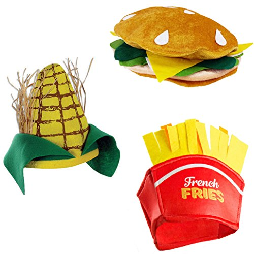 Food Hats – Fast Food Hats - Burger Hat - Fries Hats - Corn On The Cob Hat - Food Costumes (3 Pack) by - Ketchup Halloween Costume
