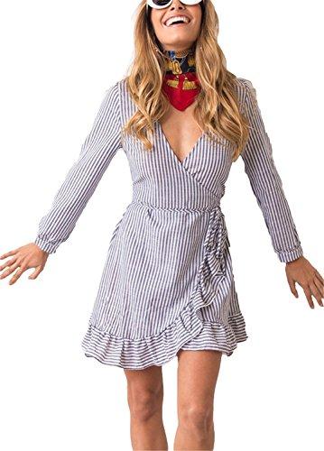 Henraly Dress Contrast Stripes Deep V Drape Long Sleeve Shirt Dress Casual School Girls Dress One-Piece Blue M