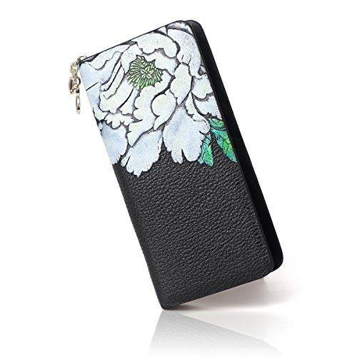 Floral Penoy Wallet White Clip Money APHISONUK Womens Case Women Zipper Long Card Wallets Holder Leather Purse Around for xnEBzzqwCT