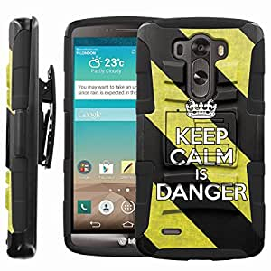 [ManiaGear] Heavy Duty Combat Armor Dual Layer Design Image Case With Kickstand Belt Holster Case (Keep Clam is Danger) for LG G3