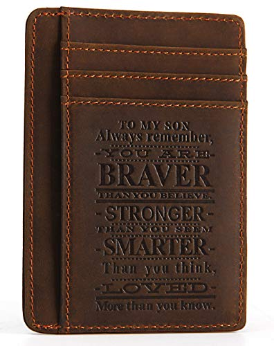 Mens Engraved Leather Front Pocket Wallet - To my son always remember you are brave Genuine Leather RFID Blocking slim Wallet Card Holder