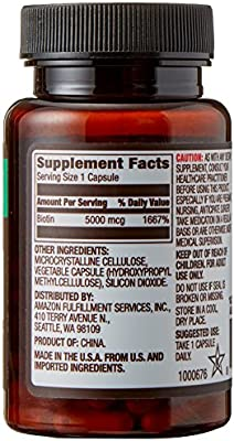 Amazon Elements Vegan Biotin 5000 mcg - Hair, Skin, Nails - 130 Capsules (4 month supply)           (Packaging may vary)