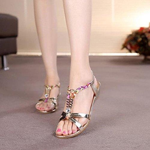 Plage Talons À Amazon Été Mode Hauts Sandales Luckycat Diamant Femme Casual Or 2018 De D'été Chaussures Plates 8A6q0qwd