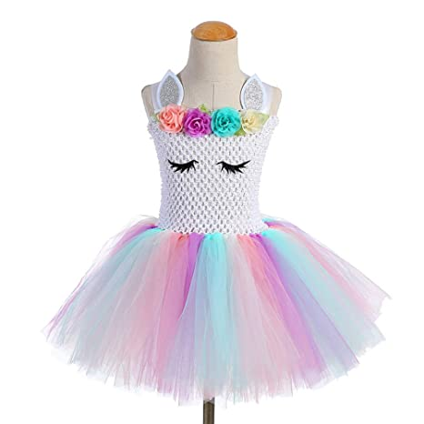Amosfun Rainbow Unicorn Tul tutú Dress Baby Girl cumpleaños ...