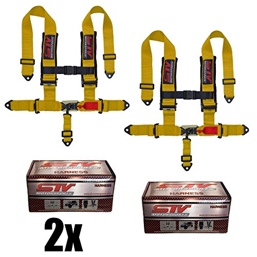 """STV Motorsports 5 Point Universal Racing Seat Harness Latch and Link 2"""" Pads RH5.2H - for Off-Road Vehicles, UTV, Trucks (PAIR) (Yellow)"""