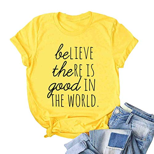 Be The Good in The World Positive Kindness Gift Resistance Graphic Tee Yellow M