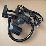 Pukido 15'' Adjustable and Flexible LED Aquarium Light Bulb Holder E27 Socket Gooseneck Clamp/Mount LED Clip on Light for Nano Tanks - (Color: AU Plug)