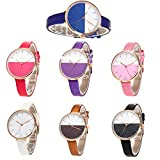 Womens Quartz Watches,Hotkey Unique Analog Fashion Clearance Cute Design Lady Watches Female watches on Sale Watches for Women,Round Dial Case Comfortable PU Leather C40