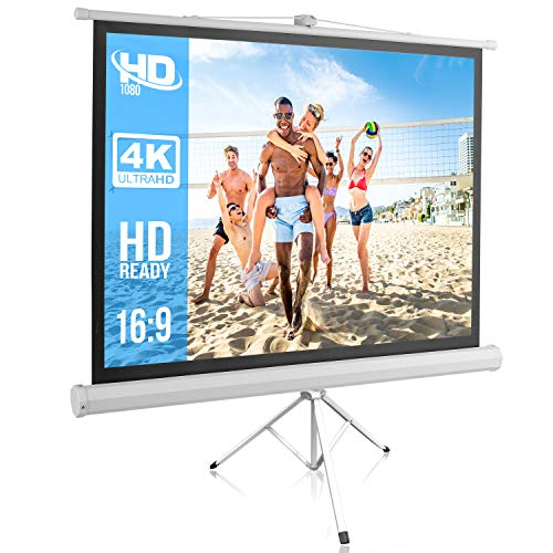 (Portable Projector Screen Tripod Stand - Mobile Projection Screen, Lightweight Carry & Durable Easy Pull Assemble System for Schools Meeting Conference Indoor Outdoor Use, 50 Inch by Pyle (PRJTP52))