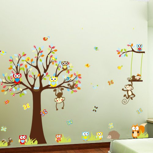 Witkey Forest Animals Owl Birds hanging Monkey Squirrel Colorful Tree Art Wall Stickers Decal for Nursery Home Decor Boys and Girls Children Courtyard Baby Room
