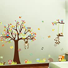 Flexzion DIY Wall Sticker Removable Animals Tree Swing Monkey Owls Butterfly Colorfull Art Decal Home Decor for Nursery Kids Children Mural Living Dining Room