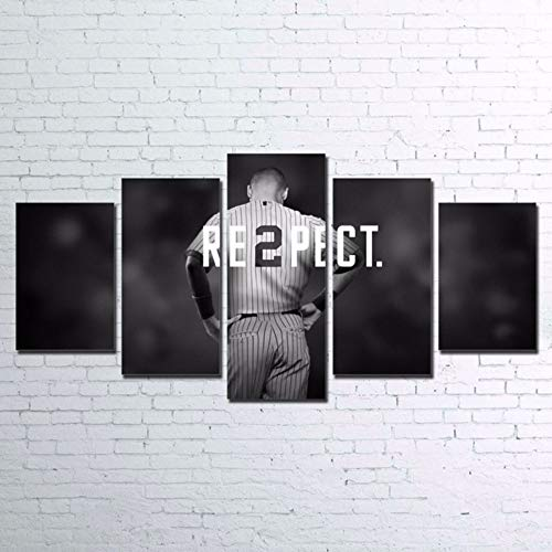 LAKHAFZY Modular Paintings Home Decor HD Prints Canvas 5 Pieces Baseball Player Pictures for Living Room Wall Art Sports Poster-B,Frame