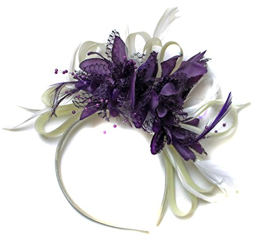 Crème et violet foncé/ivoire Serre-tête bibi avec plume pour cheveux Net Créoles mariage Royal Ascot courses