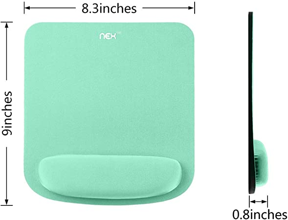 Mint Green NEX Non Slip Mouse Pad with Ergonomic Wrist Rest Memory Foam Mouse Mat for Computer Easy Typing /& Pain Relief Laptop /& Mac