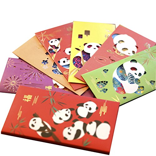 Gift Card Envelopes, Cute Panda Small Invitation Envelope, Chinese Red Envelopes, Colored Fancy Packet for Christmas, Birthday, Wedding, New Year, Spring Festival, Money (Cartoon Panda /12 Pcs) by Alodidae