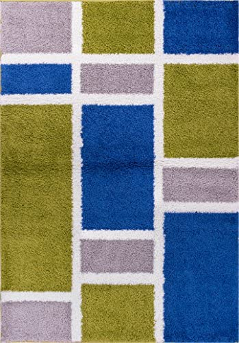 Shaggy Cubes Blue Green Plush Shag Modern Geometric Blocks Squares 5×7 5 x 7 2 Area Rug Easy Plush Shag Easy Care Thick Soft Plush Living Room