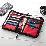 サンワダイレクト パスポートケース 11ポケット 航空券対応 トラベルオー ガナイザー Mサイズ ブラック 200-BAGIN003BK
