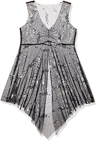Gia-Mia Dance Big Girls' Sparkle Overdress Dance Stretch Mesh Lyrical Jazz Costume Performance Team, Black, S