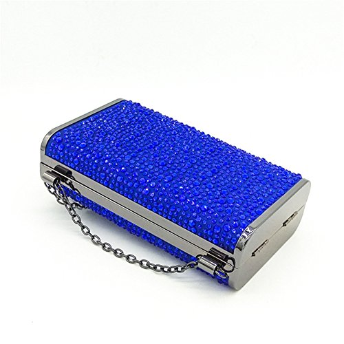 Dress Clutch Evening Flagon Shoulder Party MSFS Blue Ladies Wedding Diamond Handbag q5HxOpEw