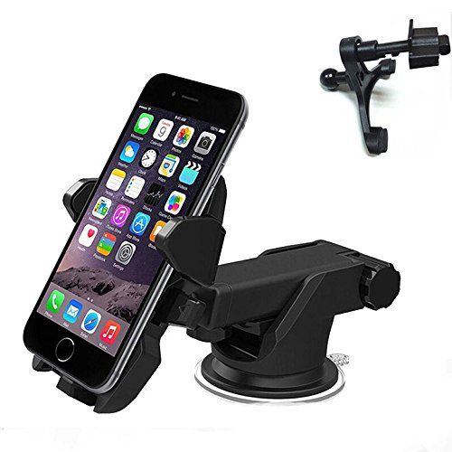 NUTK 2 in 1 Universal Car Cell Phone Mount Holder for Dashboard/Windshield/Car Air Vent Cradle with 360 Rotation for iPhone 7 7 Plus SE 6s 6 Plus 6 5s 5c se 4s 4 Samsung Galaxy S6 S5 S4 (Black)