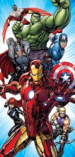 Disney Marvel Avengers Assemble Fiber Reactive Cotton Beach Towel 30x60 Inches by Frog Studio Home