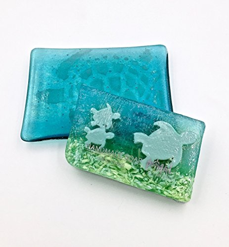Aquamarine Fused Glass Sea Turtle Soap Dish, Bath Accessory and Matching (Aquamarine Soap)