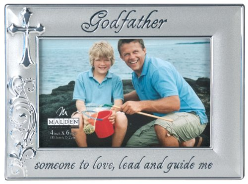 malden international designs godfather with cross picture frame 4x6 silver