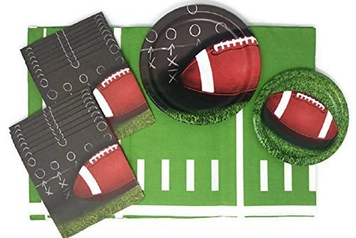 Football Paper Plates Napkins and Tablecloth Bundle of 4, Service for 8