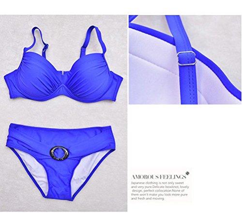 Nuevo Traje De Baño Atractivo Del Balneario Del Bikiní Del Estilo Para Las Señoras Empuje Para Arriba (Azul, Rojo) Blue